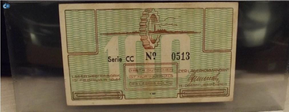 שטר ממחנה הריכוז ווסטרבורק הולנד 1944