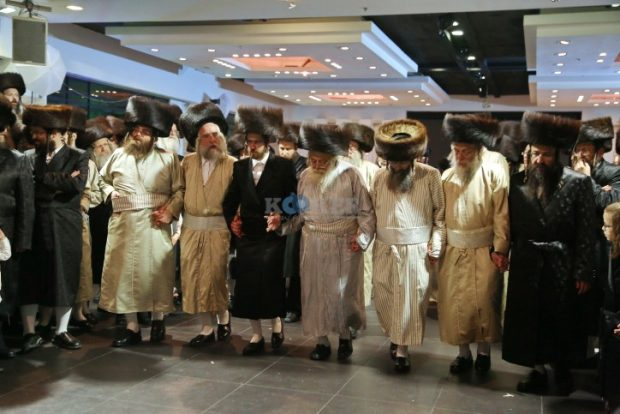 Ultra orthodox Jewish men gathered to celebrate the wedding of the granddaughter of the head Rabbi of Nachalat Aharon at a hall located in Beit Shemesh, July 18, 2016. Photo by Yaakov Lederman/Flash90 *** Local Caption *** ????? ????? ??? ??? ???? ????? ??? ??? ????? ????