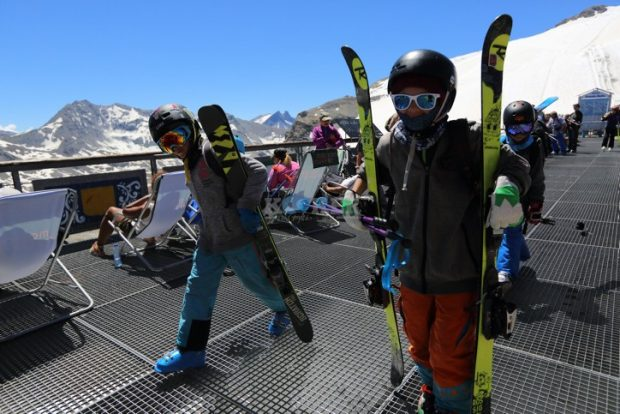 Skiers and snowboarders in the resort city of la Plagne, in the French ski area of the Alps. July 26, 2016. Photo by Yaakov Naumi/FLASH90 *** Local Caption *** ???? ?????? ????? ???? ?????? ??? ??? ??????. ??-????, ???? ?????? ???