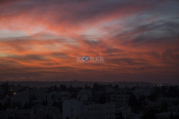 View of the Sunset over Jerusalem, on November 14, 2016. Photo by Yonatan Sindel/Flash90 *** Local Caption *** ??? ????? ??????? ??? ?????